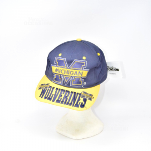 Cap With Peak Michigan Blue And Yellow