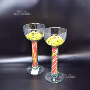 Pair Of Chalices Holder Candle With Flowers Yellow