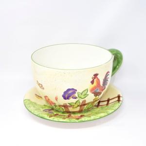 Butxthe Mug Ceramic Depicting Butterflies And Animals,diameter 25 Cm