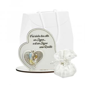 Icona cuore con frase e sacchetto Prima Comunione bimba