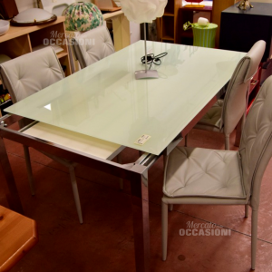 Glass Table Tempered With Structure Steel Allungabile Cod.602 New