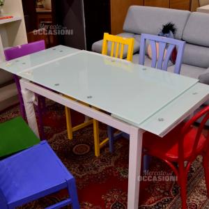 Glass Table Allungabile With Legs Steel White