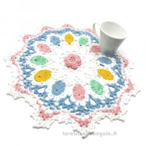 Centrino Pasqua ad uncinetto ø 33 cm Handmade - Italy
