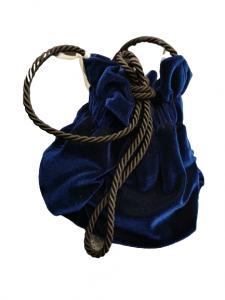 Borsina donna  velluto liscio  blu  cordino  a tracolla   Made in Italy