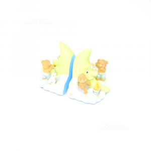 Pair Bookholder Moon And Teddy Bears
