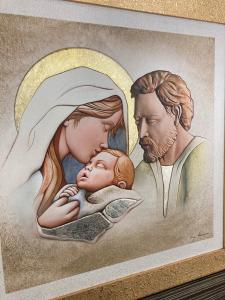 Quadro Sacra Famiglia Leader Argenti con dettagli in argento dorato cod. 12.0282