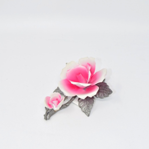 Object Flower Ceramic With Base Metal Hand Made