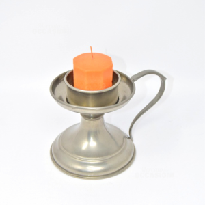 Holder Candle In Pewter With Candle,height 15 Cm