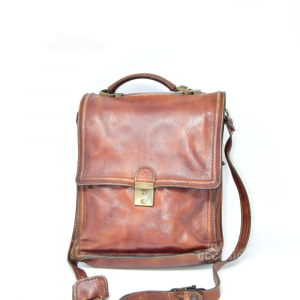 Purse In Real Leather Brown With Shoulderstrap