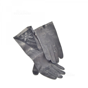 Gloves In True Leather Black With Part Lace Black Size S