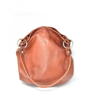 Leather Bag Brown Artigiano Veneto Made In Italy 33x21x10 Cm