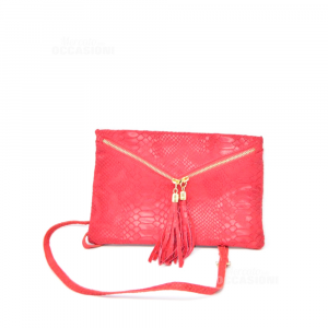 Bag Red In Real Leather Made In Italy To Shoulder Strap 28x18 Cm