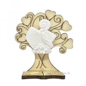 Albero della vita in legno con cappello papale 6x7 cm - Bomboniere cresima