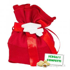 Portaconfetti palla Rosso con tocco in gessetto 12x13 cm - Sacchetti laurea