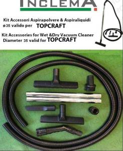 KIT tubo flessibile e Accessori Aspirapolvere & Aspiraliquidi ø35 (tubo diametro 32) valido per TOPCRAFT