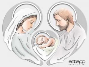 Capoletto Estego Trittico Sacra Famiglia con decorazione in argento Made in Italy
