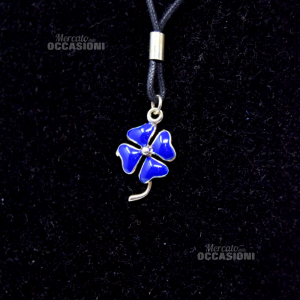 Necklace Silver Quatrefoli Enameled Blue With Cordino