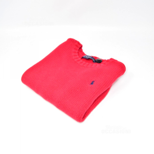 Sweater Boy Polo Ralph Lauren 3 To 100% Cotton Red