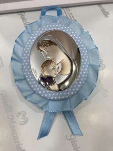 Medaglione culla sonoro azzurro con Maternità Mida Argenti M10528