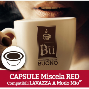 Caffè BU Kit 100 capsule miscela RED per macchine Lavazza A Modo Mio