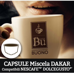 Caffè BU Kit 128 capsule miscela DAKAR per macchine Dolce Gusto