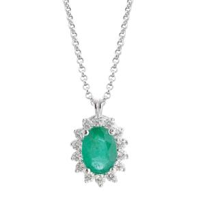 Collana Artlinea  in oro bianco 18kt con smeraldo e diamanti CD601/SM-LB