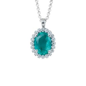 Collana Artlinea  in oro bianco 18kt con smeraldo e diamanti CD481/SM-LB