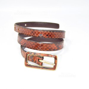 Belt In Genuine Python Leather Brown Length 98 Cm