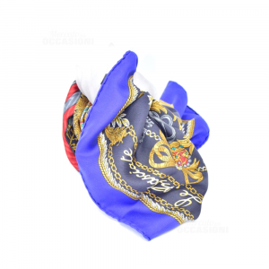 Foulard Of Pure Silk Brand Etro Made In Italy Frame Blue Fantasy Black