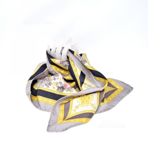 Foulard Of Pure Silk Brand Etro Made In Italy Fantasy Gold Su Background Gray