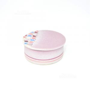 Porta Oggetti In Ceramica Viola Diametro 10 Cm Con Quadretti Colorati In Rialzo