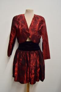 Skirt + Bolerino Pimko Black Red In Silk Size 42