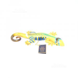 Oggetto Salamandra In Plastica Gialla