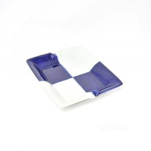 Posa Cenere In Ceramica Riquadri Blu Bianchi
