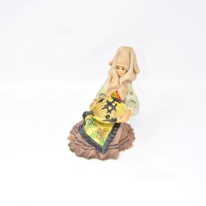 Oggetto Donna In Ceramica Dipinta A Mano Con Cestino A.Massidda