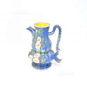 Caraffa In Ceramica Blu Con Dipinto Fiori Rosa Rossi
