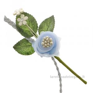 Rametto Fiore artificiale Celeste 11 cm - Decorazioni bomboniere