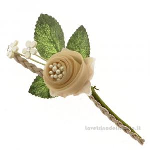 Rametto Fiore artificiale Tortora 11 cm - Decorazioni bomboniere