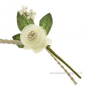 Rametto Fiore artificiale Crema 11 cm - Decorazioni bomboniere