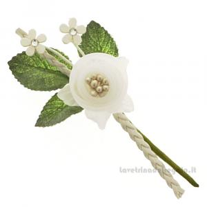 Rametto Fiore artificiale Bianco 11 cm - Decorazioni bomboniere