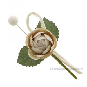 Rametto bocciolo Fiore artificiale Tortora 9 cm - Decorazioni bomboniere