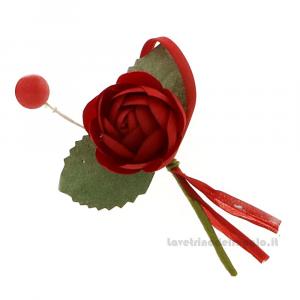 Rametto bocciolo Fiore artificiale Rosso 9 cm - Decorazioni bomboniere