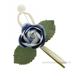 Rametto bocciolo Fiore artificiale Blu 9 cm - Decorazioni bomboniere