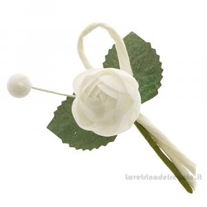 Rametto bocciolo Fiore artificiale Bianco 9 cm - Decorazioni bomboniere