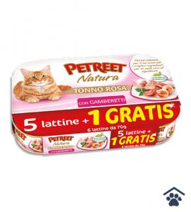 Petreet Umido Natura per Gatti - Multipack Tonno Rosa con Gamberetti 6 x 70g