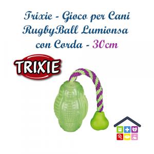 TRIXIE | Gioco per Cani | Rugby Ball Luminosa con Corda - 30cm
