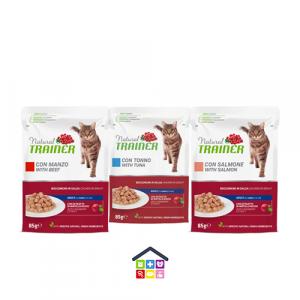 NATURAL TRAINER | LINEA UMIDO GATTO Adult | Bocconcini in salsa ( Tonno / Salmone / Manzo ) / 85 gr