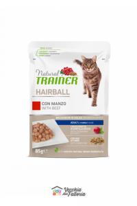 NATURAL TRAINER | LINEA UMIDO GATTO Hairball Adult | Manzo e mix di fibre / 85gr
