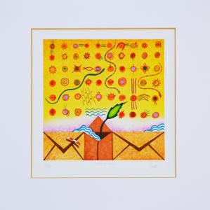 Ghelli Giuliano Le vie dei canti Serigrafia Formato cm 29,5x29,5