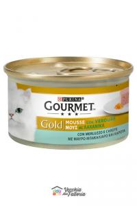 PURINA   GOURMET GOLD - Mousse / Gusto: Merluzzo con Verdure (Carote) - 85gr